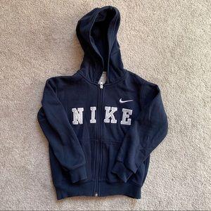 Boy's navy Nike hooded sweatshirt jacket size 5